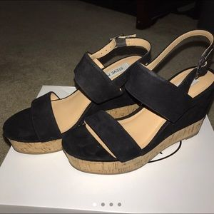 New Steve Madden black suede double strap wedges